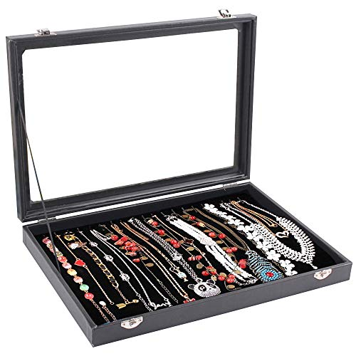Wuligirl 20 Hooks Necklace Tray Storage Box Jewelry Display Stackable Glass Top Lockable Black Velvet Boxes(Necklace Box)