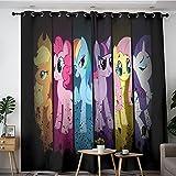 Cortinas aislantes para dormitorios y apartamentos My Little Pony Miembro Twilight Sparkle Rainbow Dash Applejack Rarity Fluttershy Pinkie Pie aisladas 1 par de cortinas con ojales de 213 x 213 cm