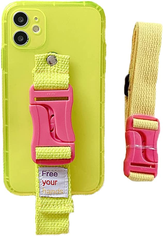 VooDirop Fluorescent Clear Case for iPhone XR, Lanyard Wristband Kickstand Case Unique Shockproof Protective, Soft Shell Silicone Back Cover with Hand Strap (iPhone XR, Yellow)