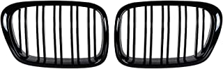 Anzio Pair Double Slat Line Gloss Black Front Kidney Grill Front Grille Compatible with 5 Series E39 520 523 525 528 530 535 540 M5 97-03