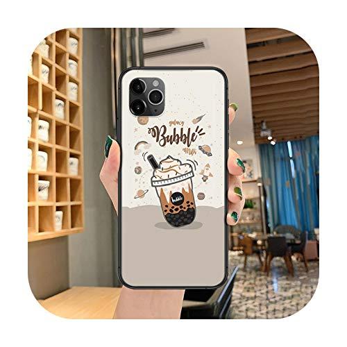 caja del teléfono del té del café de la historieta para el iphone 4 4s 5 5S SE 5C 6 6S 7 8 más X XS XR 11 12 mini Pro Max 2020 negro funda painting-8-iphone6Plus 6SPlus