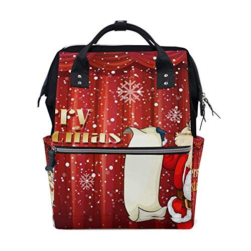 Christmas Balls Present Bow with Red Background School Backpack Large Capacity Mummy Bags Laptop Handbag Casual Travel Rucksack Satchel for Women Men Adult Teen Children