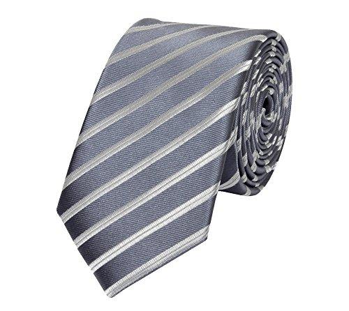 Fabio Farini - Elegante Herren Krawatte gestreift in 6cm und 8cm Breite in verschiedenen Farben für jeden Anlass wie Hochzeit, Konfirmation, Abschlussball Dunkelgrau Silber