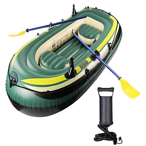 ZYXUNQL Aufblasbares Boot, für 2/3 Personen, Kajak Gummiboot für Erwachsene, Angeln, Casual, Surfen mit Doppelpaddeln (Armeegrün (230 x 130 x 35 cm))