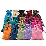 BENECREAT 30 PCS 15 Colores Bolsas de Arpillera 14x10cm Bolsas de Regalo con...