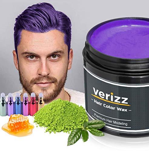 Verizz Coloured Hair Wax | Kleur Wax Haren | Tijdelijke haarkleuring in actuele modekleuren | Kleur Wax in aantrekkelijke kleuren voor moderne kapsels | Nieuw haarkleur systeem (LILA)