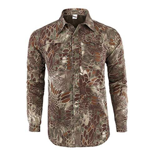 Xmiral Shirt Hemd Herren Schnelltrocknendes Lässiges Langarm T-Shirt mit Farbmuster für Das Militär Sweatshirt Hemden Polohemd Tanktop(a Grün,L)