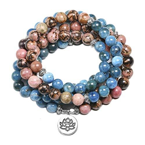 WSJKL 108 Mala Pulsera para Hombres Apatita Natural y Rhodonita 8mm Beads Pulseras Mujeres Yoga Meditación Lotus Colgante Joyería (Color : Lotus)