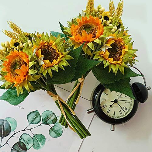 Flores artificiales, ramo de girasol delicado, dos racimos, 20 flores, jardineras y partes descoreadas de flores artificiales, salón y oficina en casa