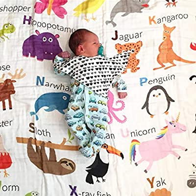 100% Organic Muslin Everything Blanket by ADDISON BELLE - Oversized 47 inches x 47 inches - Best Baby/Toddler Gift - Premium 4 Layer Muslin Blanket/Dream Blanket
