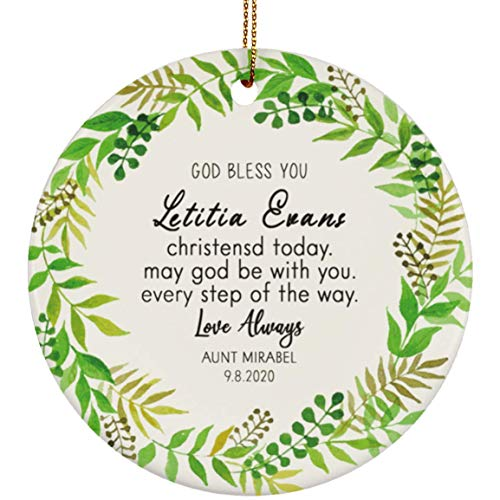 OystersPearl Personalised God Bless Christening Baptism Baby Girl Boy Quote Foliage Hoop Ceramic Round Decoration Ornament