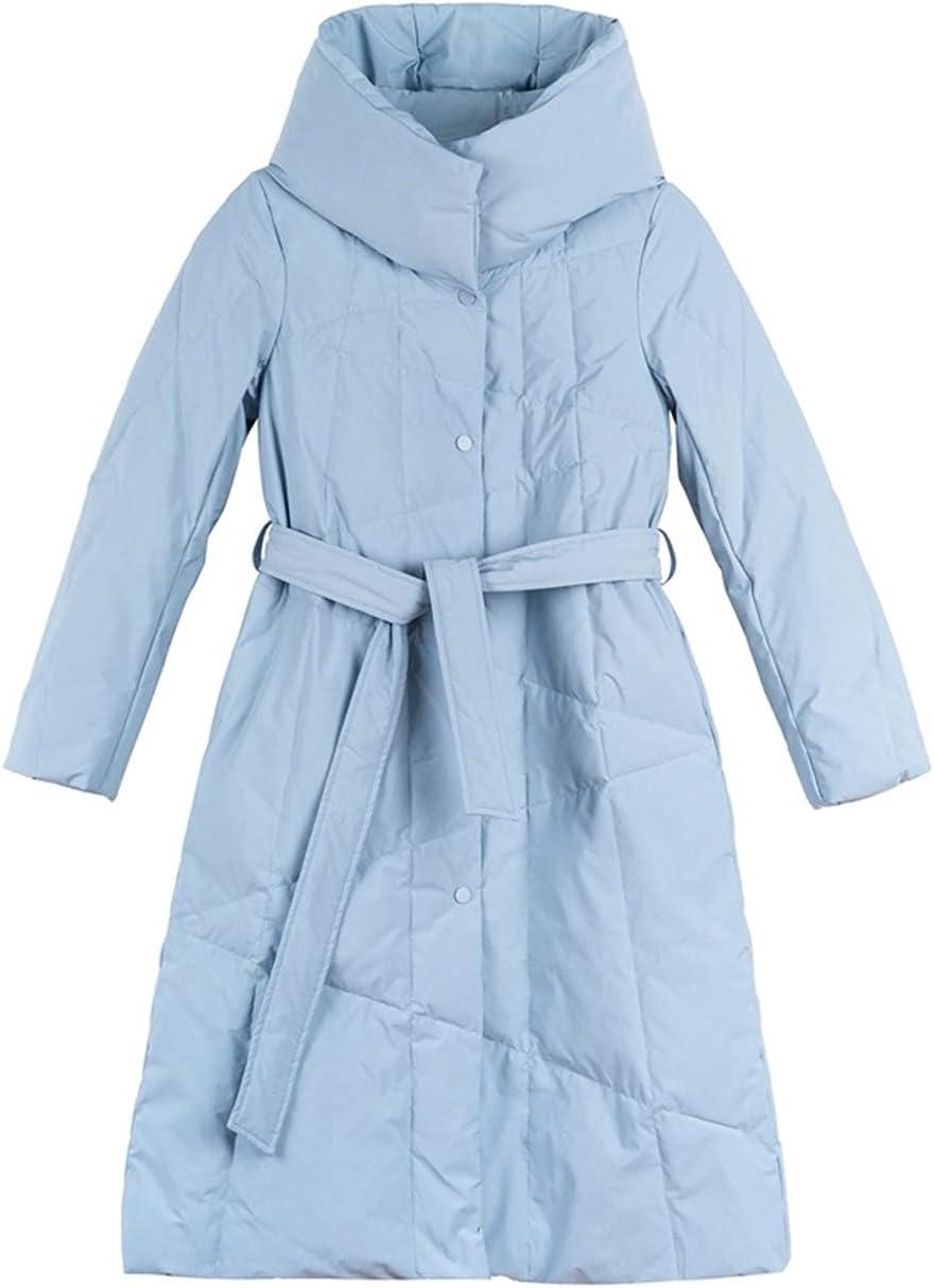 DIAOD Casual Light Blue High quality new Autumn Winter New product!! Hoo Parkas Long Warm Women