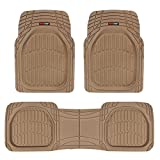 Motor Trend 923-BG Beige FlexTough Contour Liners-Deep Dish Heavy Duty Rubber Floor Mats for Car SUV Truck & Van-All Weather Protection, Universal Trim to Fit (Tan Beige)