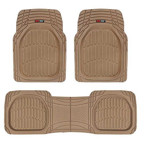 FlexTough Contour Liners-Deep Dish Heavy Duty Rubber Floor Mats for Car SUV Truck & Van-All Weather Protection (Tan Beige)