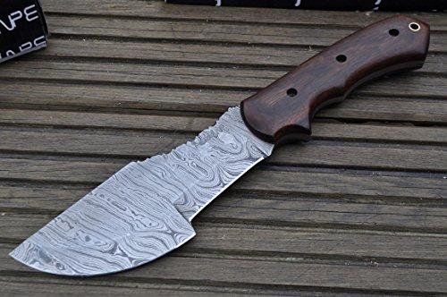 Perkin Damastmesser Jagdmesser Damaststahl Jagdmesser mit Lederscheide (Walnut)