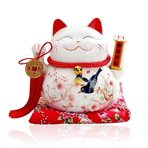 Maneki Neko Winkekatze Glückskatze Glücksbringer Winkende Katze aus Porzellan,Weiß L26*W19*H23cm, F