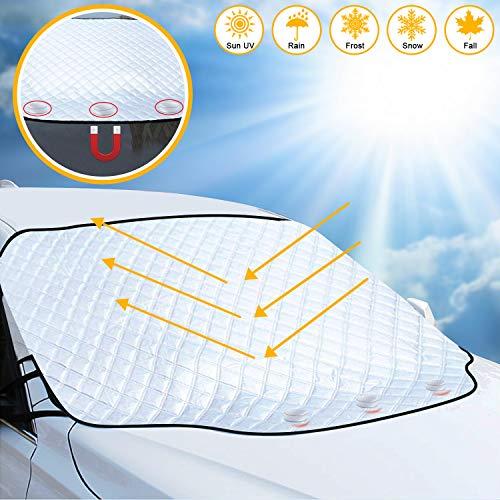 Frontscheibenabdeckung, Auto Sonnenschutz Frontscheibe,Windschutzscheiben Abdeckung 3 Magnet UV-Schutz, für Autoscheibenabdeckung gegen UV-Strahlung, Sonne, Staub, Schnee, EIS, Frost193*157*126cm