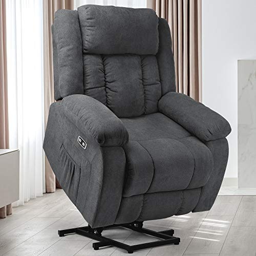 YITAHOME Power Lift Recliner Chair for Elderly, Lift Chair with Heat and Massage, Ergonomic Fabric Recliner Chair Sofa with 2 Side Pockets & Remote Control for Living Room (Gray)