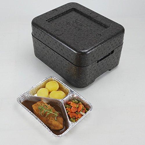 PIT3 Thermobox Styropor anthrazit Transportbehälter MENÜBOX für 3 Menü * Catering