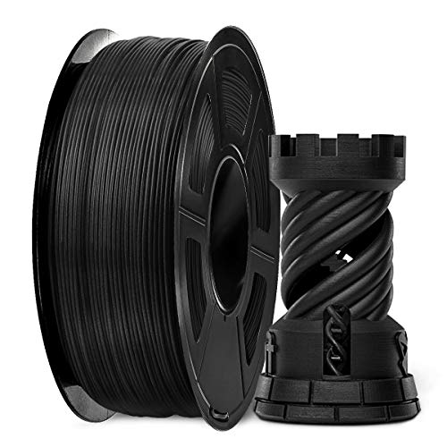 Filamento de fibra de carbono SUNLU 1,75 mm, filamento negro PLA 1,75 +/- 0,02 mm, carrete de 1 kg para impresión 3D