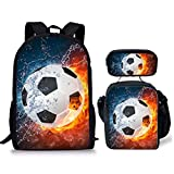 AFPANQZ Soccer Water and Fire Pattern School Backpack Water-resistant Bookbag Lightweight Anti-theft Daypack Casual Insulated Lunch Bag with Bottle Pocket Pencil Cases 3 IN 1