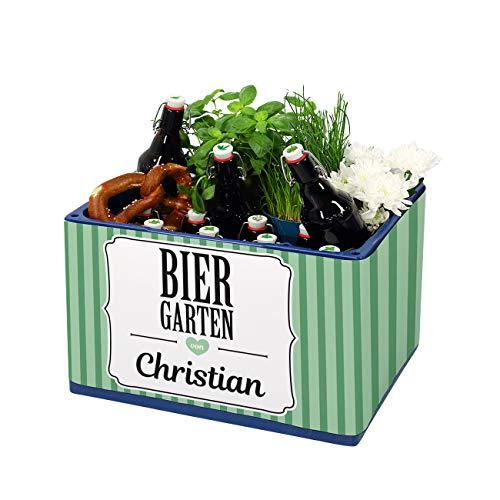 Herz & Heim® Geburtstagsgeschenk Männer DIY - Banderole für Bierkasten mit Aufklebern für Kronkorken Biergarten