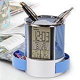 MEIYIN Multifunction Digital LCD Desk Pen Holder Alarm Clock & Mesh Rulers Pencil Holder Time Temp Calendar