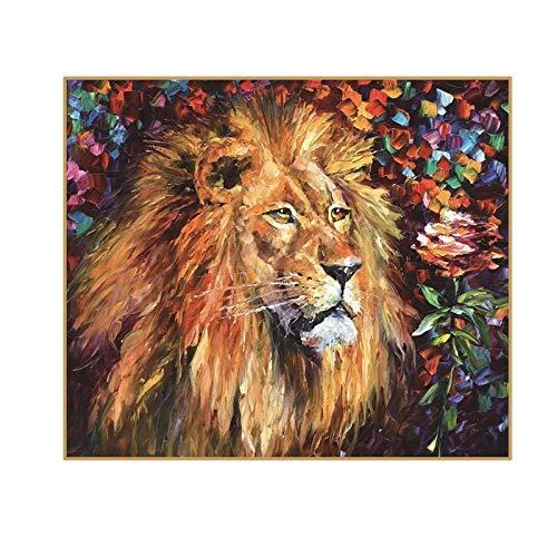 UIOLK Pintura al óleo Abstracta león sobre Lienzo Hermosa niña Color decoración artística e Interior Lienzo Arte Abstracto imágenes de Animales