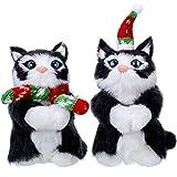 WILLBOND 2 Piezas Adornos de Gato Gatito Peludo con Bufanda Sombrero Decoración Colgante de Navidad Mini Adorno de Gato de Árbol de Navidad (Negro y Blanco)
