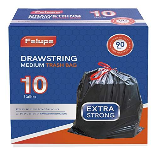 Feiupe 10 Gallon Drawstring Trash Bag Garbage Bag Trash Can Liner,0.9...