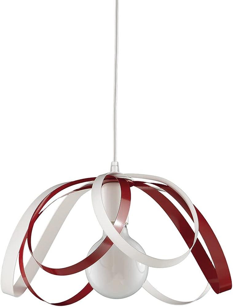 Leolux fiocco, lampadario moderno a sospensione, struttura in metallo colorato, tutto lavorato a mano, BIANCO-ROSSO