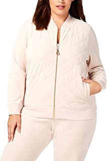 Womens Plus Velour Quilted Bomber Jacket Pink 2X
