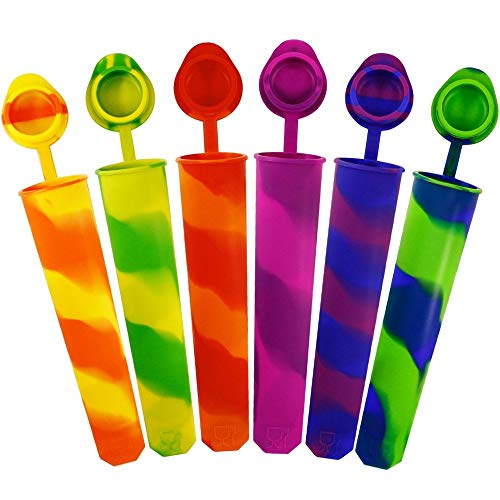 AVANA Wiederverwendbare Eisformen aus Silikon 6 Stück EIS am Stiel Eiscreme Formen Ice Pop Maker Wassereis Eislutscher Bunt - BPA Frei