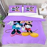 Funda de edredón doble Minnie besando Mickey Mouse morado 3 piezas juego de funda de edredón funda de edredón 1 fundas de almohada 1 funda de edredón
