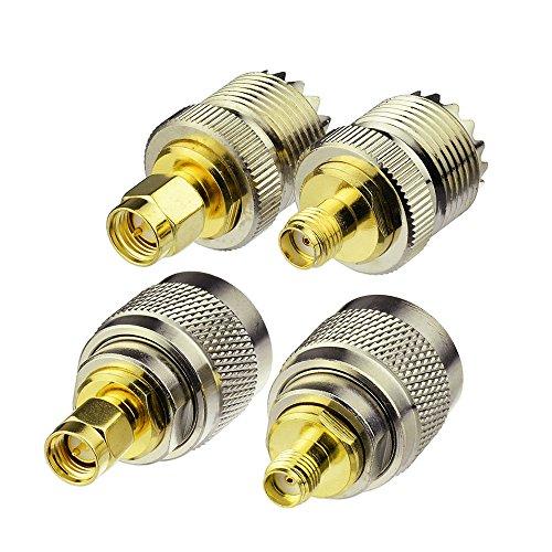 Eightwood Antenne CB Adaptateur SMA UHF Kit Adaptateur Antenne SMA à UHF 4 Type pour Talkie-Walkie Antenne SMA Antenne CB Radio