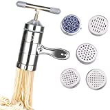 Stainless Steel Manual Noodles Maker, Portable Pasta Maker Noodle Making Press Machine Spaghetti Making Tools with 5 Noodle Mould