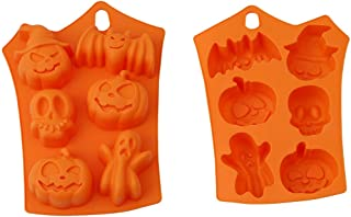 BISOZER Halloween Pumpkin Silicone Mold, Pirate Party Supplies with Pumpkins Skulls Crossbones Ghosts Bats for Holiday Chocolate, Muffin Cups, Wafer, Cake Toppers, Bath Bombs, Soaps Cookie and More