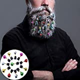 CCINEE 12 Pieces Beard Baubles Ornaments Colorful Mini Gingle Bells Mustache Christmas Decoration for Boyfriends Brothers Fathers and Men