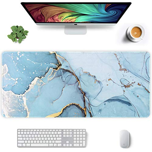 Auhoahsil Extended Mouse Pad, XXL Gaming Mouse Pads, Large Big Mousepad Laptop Computer Keyboard Mat Desk Pad with Non-Slip Base and Stitched Edge for Gaming Office, 35.5 x 15.7 inch, Green Marble