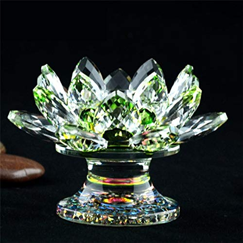 ABCBCA K9 Crystal Lotus Flower Figurine Miniature Garden Fengshui Ornaments Home Decor Accessories Modern Buddhist Candlestick 19ss (Color : Light Green)