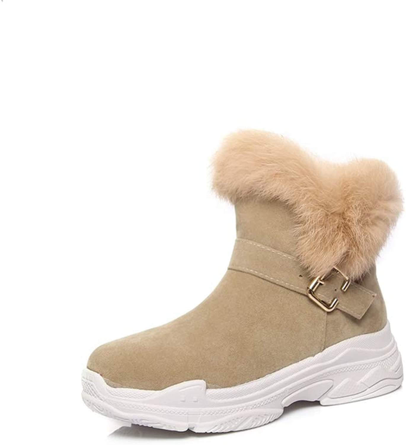T-JULY Women Winter Warm Snow Boots New Wedges Platform Round Toe Flock Slip-On Buckle Ankle shoes