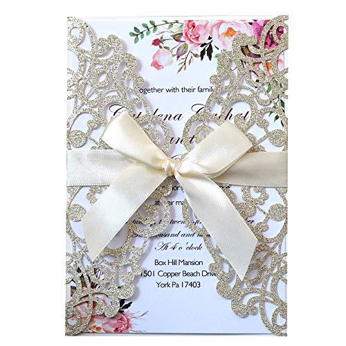 JOFANZA 50x Gold Hochzeit EinladungsKarten Für Lasercut Elegante Blume Spitze Glückwunsch Einladung Karten ,50 Stück inkl Umschläge (Gold Glitzer)
