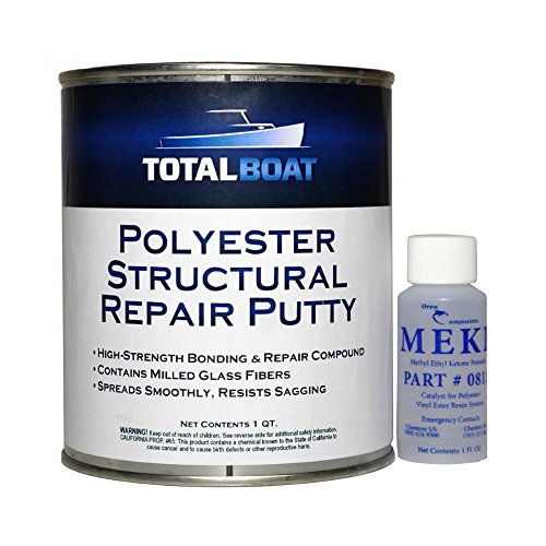 TotalBoat Polyester Structural Repair Putty - Marine Grade Long Strand Fiber Fiberglass Reinforced Filler for Boat and Automotive Repair (Quart Kit)