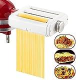 Befano Accesorio para hacer pasta 3 en 1 para batidoras KitchenAid, rodillo de hoja de pasta, cortador de espaguetis, cortador de fettuccine, accesorios de pasta casera con cepillo de limpieza sin BPA