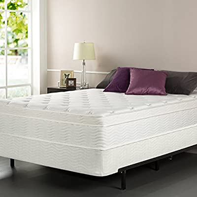 Zinus iCoil 13 Inch Euro Top Spring Mattress and BiFold Box Spring Set,Queen