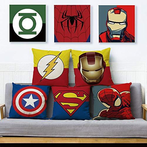 Housse de coussin Ensemble de 5 ensembles de taie d'oreiller en lin Anime Cartoon Miracle Coussin Ensemble canapé Superman Spiderman Iron Man Oreiller Décoration Avengers Taie d'oreiller 45X45Cm