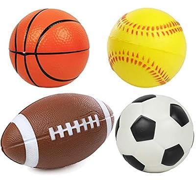 "Kiddie Play Set of 4 Soft Balls for Toddlers 4"" Soccer Ball, Baseball, Basketball, and 6"" Football for Kids"