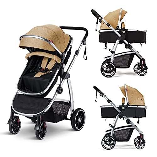 HAGADAY 2 in 1 Baby Stroller for Newborn, High Landscape Reversible Infant Bassinet Pram, Large Seat for Babies Carriage with Foot Cover& Canopy & Rain Cover(Beige)
