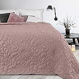 Design91 Alara - Copriletto trapuntato in tinta unita, motivo geometrico 3D, per tutto l'anno, 230 x 260 cm, colore: Rosa scuro