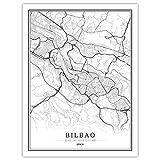 Leinwand Bilder,Nordisches Weltstadtplakat Poster Bilbao